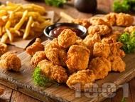 Рецепта Пържени пилешки парти хапки с кашкавал и панировка от брашно и галета
